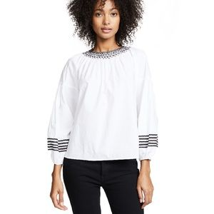 Joie 100% Cotton White Poplin Top w/ Embroidery M